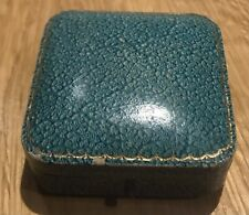 Gorgeous Antique Jewellery Box. Turquoise And Gold Tooled.