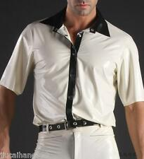 Men's 100% Latex Rubber Gummi Shirt with Outfit  Wear Top Buckle Jacket Suit-