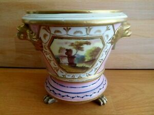 ANTIQUE COALPORT PORCELAIN CACHE POT ON STAND WITH SIGNED PAINTED VIEW