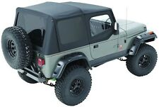 1987-1995 Jeep Wrangler Complete Soft Top Kit Upper Doors & Tinted Windows Black