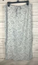 Copper Key Linen Blend Skirt Large Pale Blue Delicate Floral Print Spring Easter