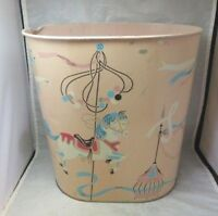 Vintage Harvell tin litho trash can. Baby, kids room Carousel horse. Pink