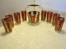 Glass BAR SET 10 PC. Geisha Girl RED & GOLD TUMBLERS ICE BUCKET & holder 1960's
