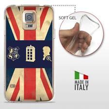 Galaxy S5 TPU CASE COVER PROTETTIVA TRASPARENTE VINTAGE Vespa Bandiera Inglese