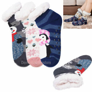 Women's Snowman Snowflake Penguin Fuzzy Non-Slip Winter Thermal Slipper Socks