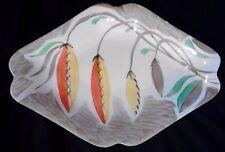 Myott Son & Co hand-painted? diamond shaped dish vintage Art Deco brown orange