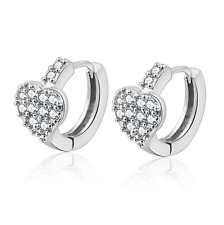 925 Sterling Silver Paved CZ Love Heart Huggie Hoop Lady Jewellery Earrings