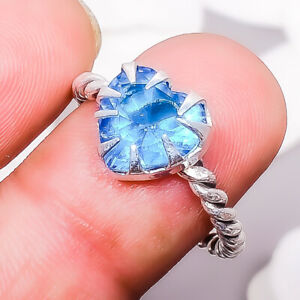 Blue Topaz Gemstone 925 Sterling Silver Handmade Jewelry Ring Size 8.5 E367
