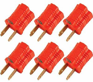 GE 14404 Polarized Grounding Adapter, Orange, TWO pack