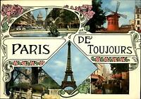 Paris France de Toujours ~ Eiffel Tower Moulin Rouge ~ Art Nouveau design ~ 1981