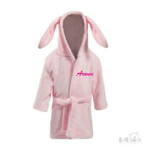 Personalised Baby Girl Boy Dressing Gown Robe Embroidered Name Bunny Ears