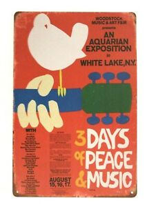 New Woodstock Concert Tin Metal Poster Sign Man Cave Vintage Style Retro Red