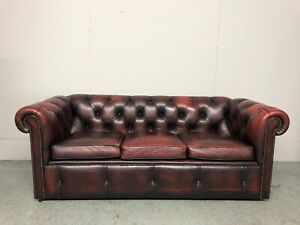 STUNNING VINTAGE MILL BROOK CHESTERFIELD 3 SEATER CLUB SOFA - OXBLOOD LEATHER