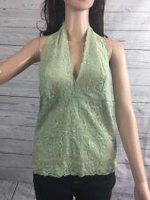 Mint Green Lace Halter Top Medium New York & Co. Sexy Empire Waist Femme Shirt