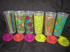 TUPPERWARE 16oz Straight Sided Tall Iced Tea Tumbler Cup Set Summer Tropical Set
