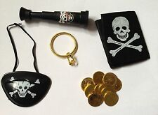 BLACK PIRATE TELESCOPE WITH EYE PATCH COINS AND EAR RING FANCY DRESS ACCESSORY