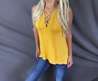 Corset Lace Up Tie Criss Cross Hi-Lo Hem Relaxed Fit Mustard Sleeveless Tank Top
