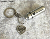 Cremation Jewelry Urn - Customise With Engraved Heart & Your Text. Funeral Ashes