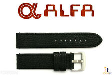 ALFA 24mm Black Genuine Textured Leather Watch Band Anti-Allergic BLK Stitching