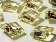 (12) 12mm vintage Czech faceted jonquil yellow square pillow glass rhinestones