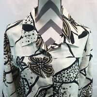 Softwear by Mark Singer Button Front Blouse Linen Floral Brown Beige XL MM18