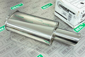"""Vibrant SS StreetPower Oval Muffler w/ 4"""" Round Angle Cut Tip 2.5"""" inlet 1046"""