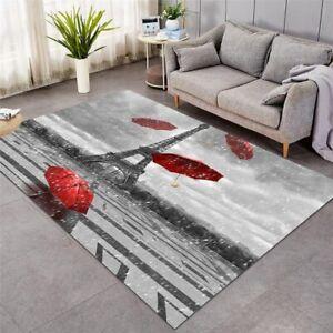 3D Red Umbrella Paris Eiffel Tower Rectangle Rug Carpet Mat Living Room Bedroom