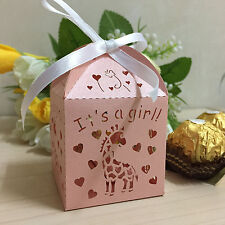 50xLaser Cut Giraffe It's a Girl Baby Shower Candy Boxes W/Ribbon Birthday Party