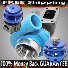 BLUE UNIVERSAL GT35 GT3582 Turbo T3+46mm Wastegate+50mm blow off Valve Combo