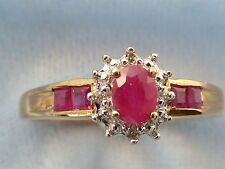 10K Yellow Gold Ring, 4 X 3mm Natural Ruby, 4, 1.8mm Rubies, 4 Diamonds, Size 7