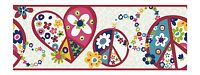 Retro Love & Peace Signs in Red and Pink York Wallpaper Border PW3920B