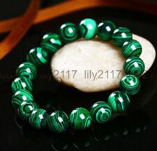 """gemstone beads stretchable bracelet 7.5"""" Beautiful Fashion 10mm malachite round"""