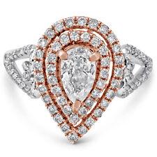 Tone Diamond Engagement Ring Pe3 Pear Shape Double Halo Two