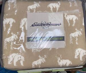 New Eddie Bauer Tan Deer Moose Bear Buckhead  Ridge Queen Duvet Cover Set 3pc
