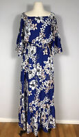 Eliza J Blue and Pink Floral Print 3/4 Sleeve Off Shoulder Maxi Dress Women's 6