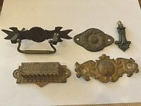 Victorian drawer handles pulls ORNATE lot of 5 pcs  Brass Antique Salvage
