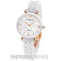 *NEW* LADIES EMPORIO ARMANI WHITE T-BAR CERAMIC WATCH - AR1486 - RRP £399.00
