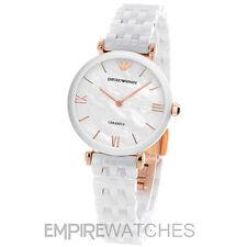 * nuevo * señoras Emporio Armani Blanco barra en T de cerámica Reloj-ar1486-RRP £ 399.00