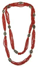 """60"""" Long 5-Strand Dyed Red Coral Bead Necklace w/Evil Clown & Floral Spacers"""
