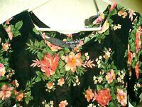 VTG 90S XL L LOTUS BRAND PEACH PINK CORAL ROSES FLORAL BOXY RAYON BLOUSE WOMEN