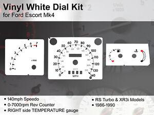 Ford Escort Mk4 (1986 - 1990) - 140mph RS Turbo / XR3i RT - Vinyl White Dial Kit
