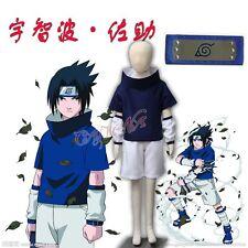 Cafiona Naruto Uchiha Sasuke Cosplay Costume Loose Blue Outfit Headband Children