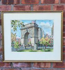 Original Ardis Hughes Watercolor Painting. Washington Square Park NYC. Signed