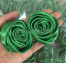 "12pc/lot Green 2"" Satin Ribbon Rose Flower Diy Wedding Bridal Bouquet 50mm"