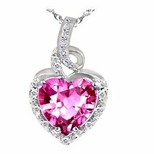 Mabella 2.0 CT Heart Shaped 8mm X 8mm Created Pink Sapphire Pendant with Sterling Chain