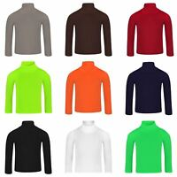 Kids Plain Basic Turtleneck Girls Roll Neck Top Boys Long Sleeve Tee Soft Shirt