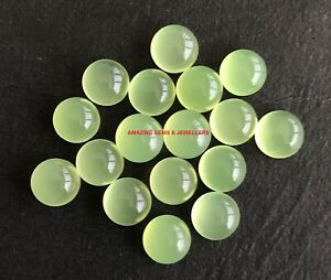 Lot Natural Prehnite Chalcedony 6X6 mm Round Cabochon Loose Gemstone QF54