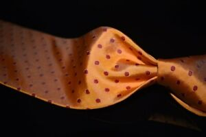 LNWOT Ben Silver Charleston Hand Made Tropical Orange Twill Pois Spot Silk Tie