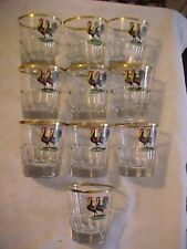 10 Moser Bohemian Rooster Fighting Cock Zwischengoldglas Cut Glass Tumblers