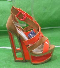 "Tan/Orange 6""High Wedge Heel  2""Platform peep toe  Sexy Shoes Size 5.5"